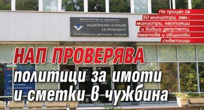 НАП проверява политици за имоти и сметки в чужбина