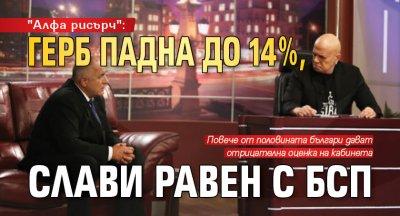 """""""Алфа рисърч"""": ГЕРБ падна до 14 %, Слави равен с БСП"""