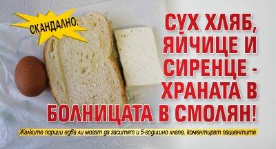 Скандално: Сух хляб, яйчице и сиренце - храната в болницата в Смолян!