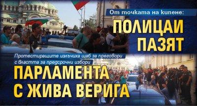 От точката на кипене: Полицаи пазят парламента с жива верига