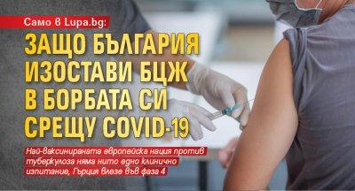 Само в Lupa.bg: Защо България изостави БЦЖ в борбата си срещу COVID-19