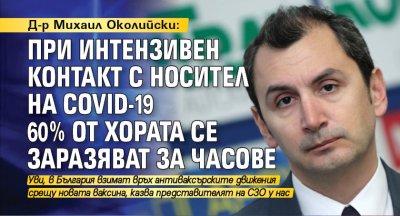 Д-р Михаил Околийски: При интензивен контакт с носител на COVID-19 60% от хората се заразяват за часове