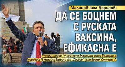 Малинов към Борисов: Да се боцнем с руската ваксина, ефикасна е