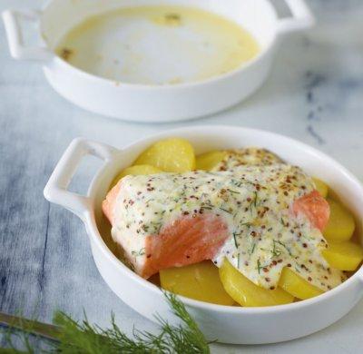 Риба печена върху картофи