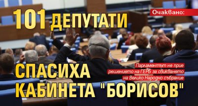 "Очаквано: 101 депутати спасиха кабинета ""Борисов"""