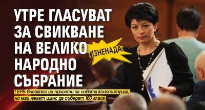 Изненада: Утре гласуват за свикване на Велико Народно събрание