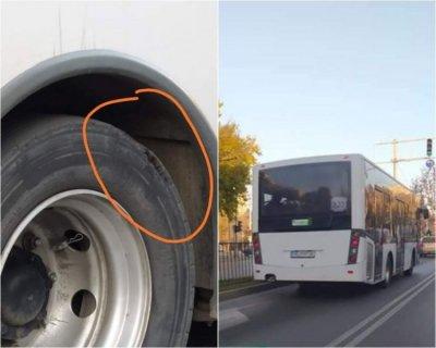Внимание, КАТ! Автобус в Пловдив вози с разпадащи се гуми