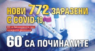 Нови 772 заразени с Covid-19, 60 са починалите